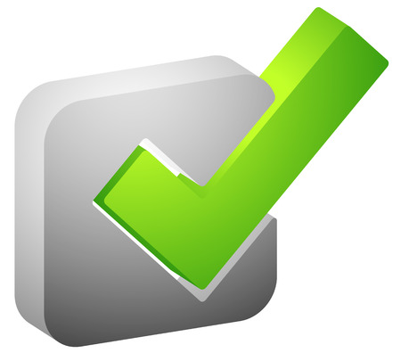 verification and validation: 3d Green check mark, tick icon. Vector illustration. Illustration