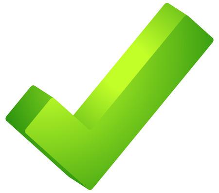 okey: 3d Green check mark, tick icon. Vector illustration. Illustration