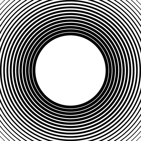ripple effect: Radiating, radial circles monochrome pattern  background. Abstract minimal vector. Ripple effect. Illustration