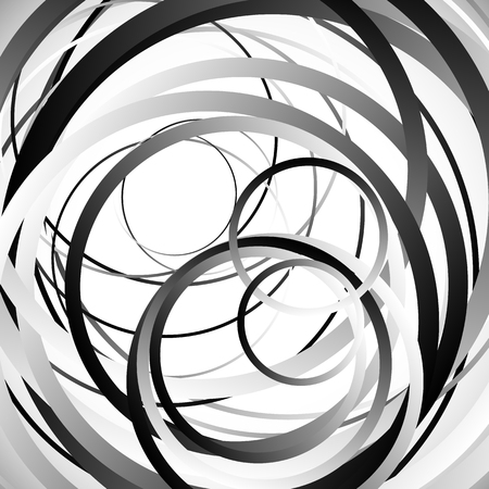 grayscale: Random intersecting circles, rings. Abstract monochrome, grayscale vector element.