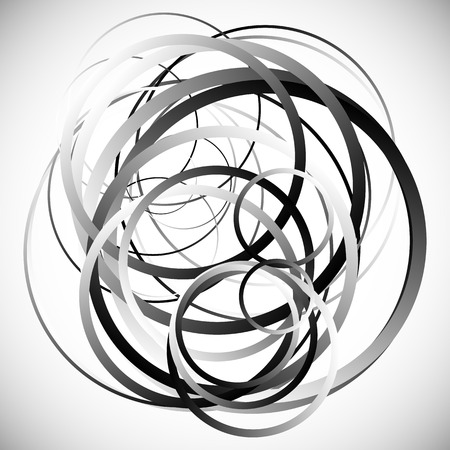 jumbled: Random intersecting circles, rings. Abstract monochrome, grayscale vector element.