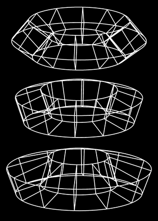 inverse: Generic 3d models. Abstract wire-frame, polygonal shapes.