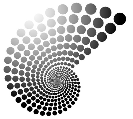volute: Grayscale dotted spiral, volute graphic. Editable vector.