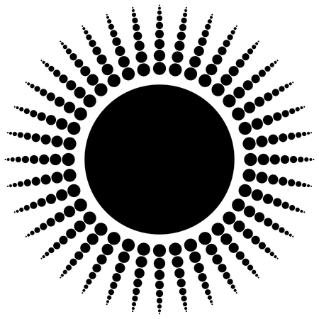 dotted lines: Abstract radial dots element. Radiating dotted lines. Illustration