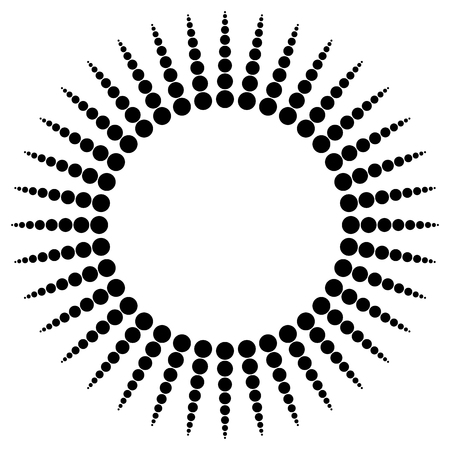radiating: Abstract radial dots element. Radiating dotted lines. Illustration