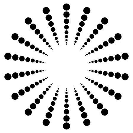 converging: Dotted radial motif, shape. Abstract design element. - Vector art, illustration. Illustration