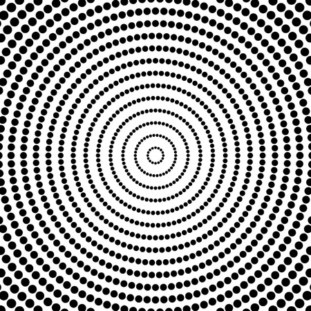 radiating: Abstract dots. Circular, radiating dotted pattern. Concentric circles monochrome vector