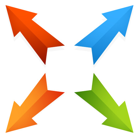 geocaching: Colorful 4 way diagonal arrows pointing outwards. Vector.