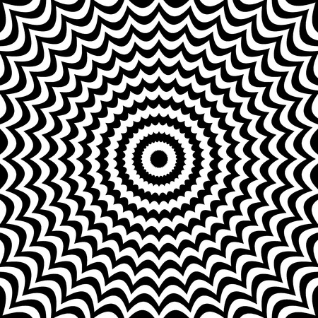 anomalous: Radial black white lines with deformation. Abstract background. Illustration