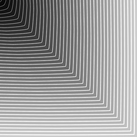 Abstract background: Circle blending to square outwards. Monochrome vector texture.