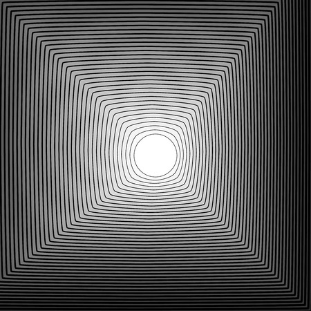 outwards: Abstract background: Circle blending to square outwards. Monochrome vector texture.