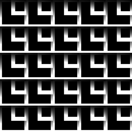 cell block: Seamlessly repeatable pattern with square shapes. Monochrome background. Illustration