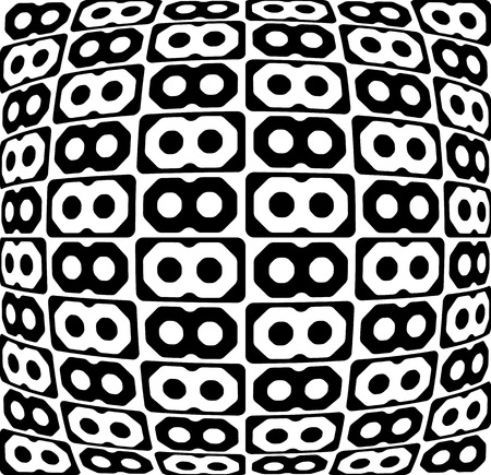 protuberant: Abstract monochrome pattern, background with connected octagon shapes. Illustration