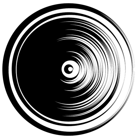 ripple effect: Circular ripple effect isolated on white  Random circles abstract element. Editable vector.