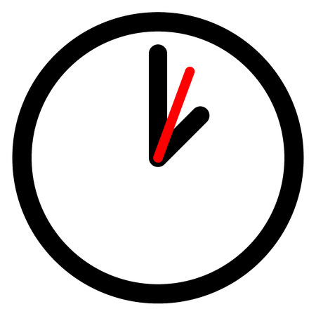 round the clock: Flat clock, wall clock symbol on white.