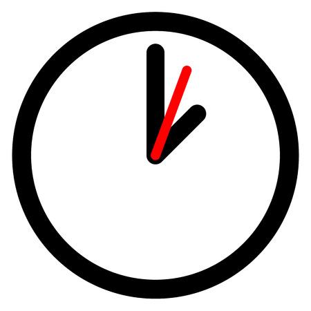 Płaski zegar, symbol zegar ścienny na białym tle.
