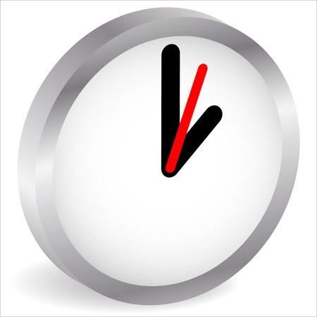 Metálico, reloj de pared 3d, icono del reloj. Vector.