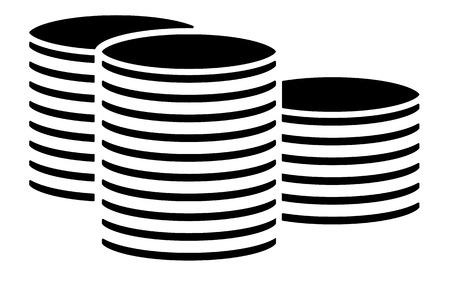 coin stack: Black coin stack, pile symbol, cylinder shapes. Vector illustration.