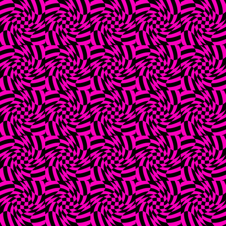 deformed: Colorful abstract background with twirl, rotation effect. Mosaic of distorted, deformed checkered pattern. Seamlessly repeatable.