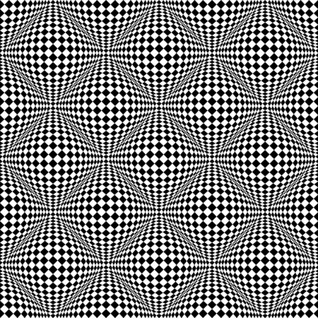 salient: Abstract checkered seamless pattern with 3d salient, protuberant distortion. Seamlessly repeatable. Vector. Illustration