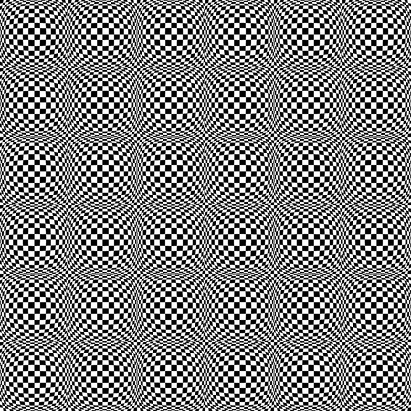 Abstract checkered seamless pattern with 3d salient, protuberant distortion. Seamlessly repeatable. Vector. Illustration