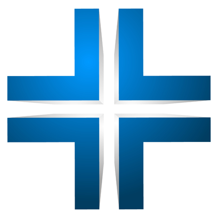 double cross: Generic 3d cross icon, double cross design element.