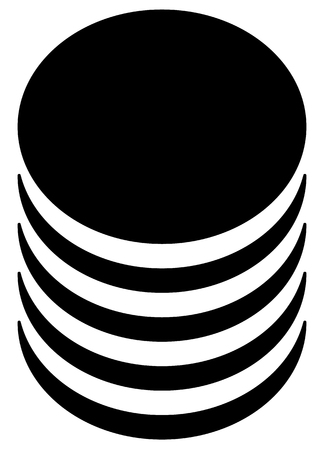 Database, barrel, cylinder shape symbol. Vector illustration.
