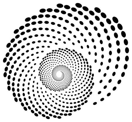 Spiraalvorm gestippeld, zwart-wit motief. Bewerkbare vector.