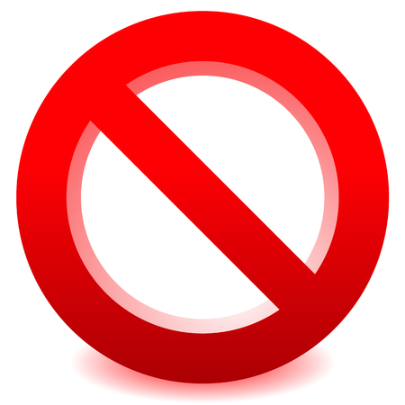 disallow: Prohibition, restriction sign vector for limit, stop, disallowed themes. No entry sign.