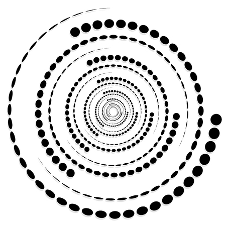twirl: Circular dotted shape, motif. Spiral, twirl element with circles.
