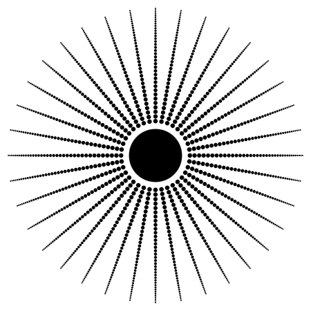 speckle: Abstract radial dots element. Radiating dotted lines. Illustration