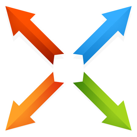 geocache: Colorful 4 way diagonal arrows pointing outwards. Vector.