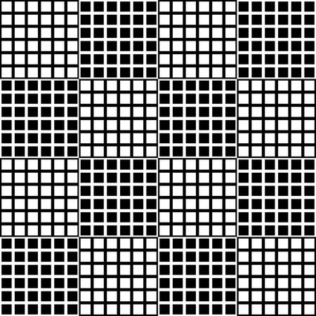 grillage: Abstract mosaic grid, mesh background with square shapes. Seamlessly repeatable. Grating, lattice pattern.