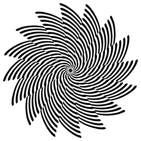 Abstract monochrome element with lined filling. Radial, radiating shape.