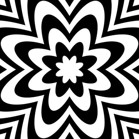 alternating: Alternating flower, petal like shapes,  black and white abstract image. Illustration
