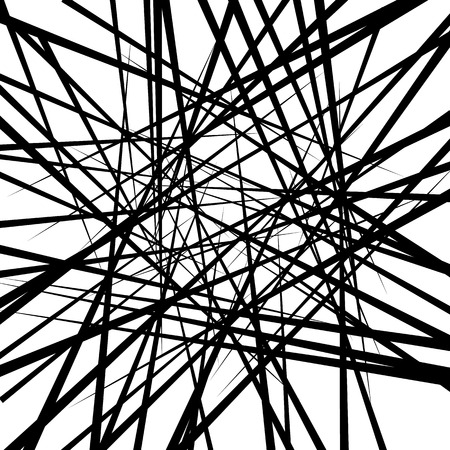 intersecting: Random irregular intersecting lines. Abstract monochrome vector texture, pattern.