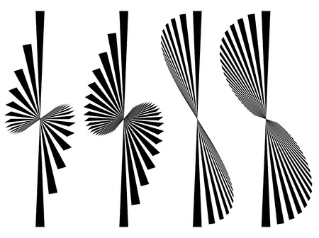 converging: Set 4 abstract elements. Asymmetric converging, radial lines. Illustration