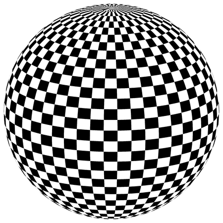 surrealistic: Ball, orb with checkered surface on white. Abstract surrealistic, surreal graphic element. Vector Illustration