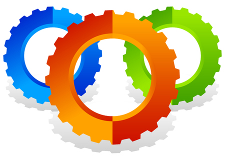 gearwheel: Colorful gearwheel, cogwheel, gear shapes for mechanics, industry or production, development concepts. Illustration