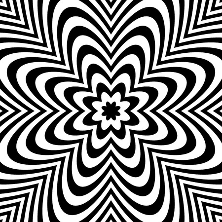 Monochrome background: Abstract bursting, radial, radiating pattern. Illustration