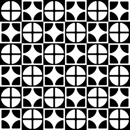 staggered: Abstract geometric pattern with staggered lines of segmented circles, squares. Monochrome repeatable background. Vector.