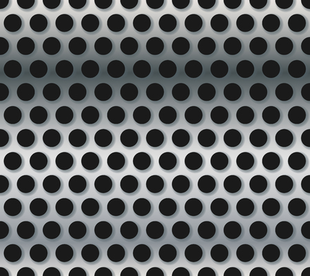 perforated: Blueish punched, perforated metal sheet, background. Repeatable.