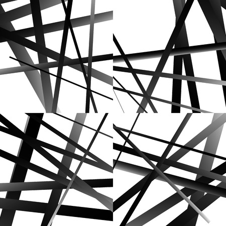 intersecting: Set of abstract intersecting lines pattern. Monochrome vector graphic. Illustration
