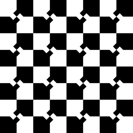 cuadros blanco y negro: patrón de cuadros mínima abstracto con mosaico de cuadros. Monocromo fondo repetible.