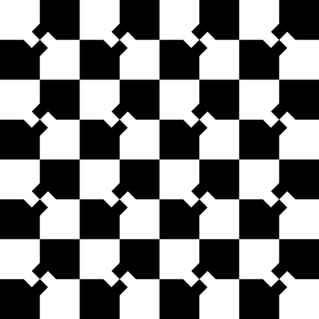 Abstract minimal checkered pattern with mosaic of squares. Monochrome repeatable  background. Illustration
