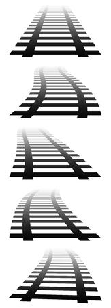 horizont: 3d, vanishing railway tracks. Railroads in perspective. Fading version.