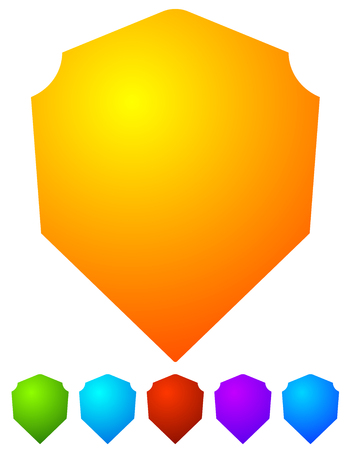 sheild: Bright, colorful shield shapes isolated on white in 6 colors.