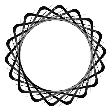 misshapen: Abstract circular, rotating element. Monochrome vector shape.