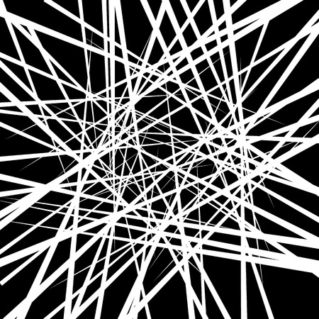 shatter: Random irregular intersecting lines. Abstract monochrome vector texture, pattern.