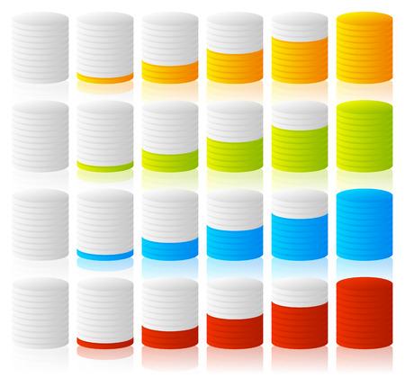 barell: Cylinder, completion, fullness or progress indicators with 6 steps.